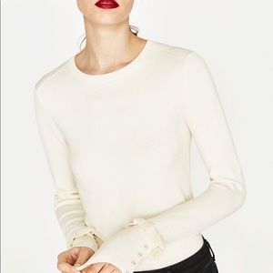 New ZARA knit sweater with ruffle and peal cuffs